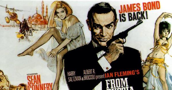 Афиша х/ф «Из России с любовью» , в котором злодеи всеми силами уничтожают Джеймса Бонда. Нам ничего такого не грозит.